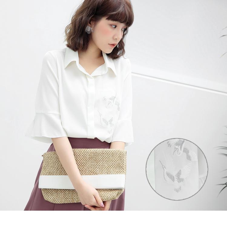 细腻鸟刺绣喇叭袖衬衫