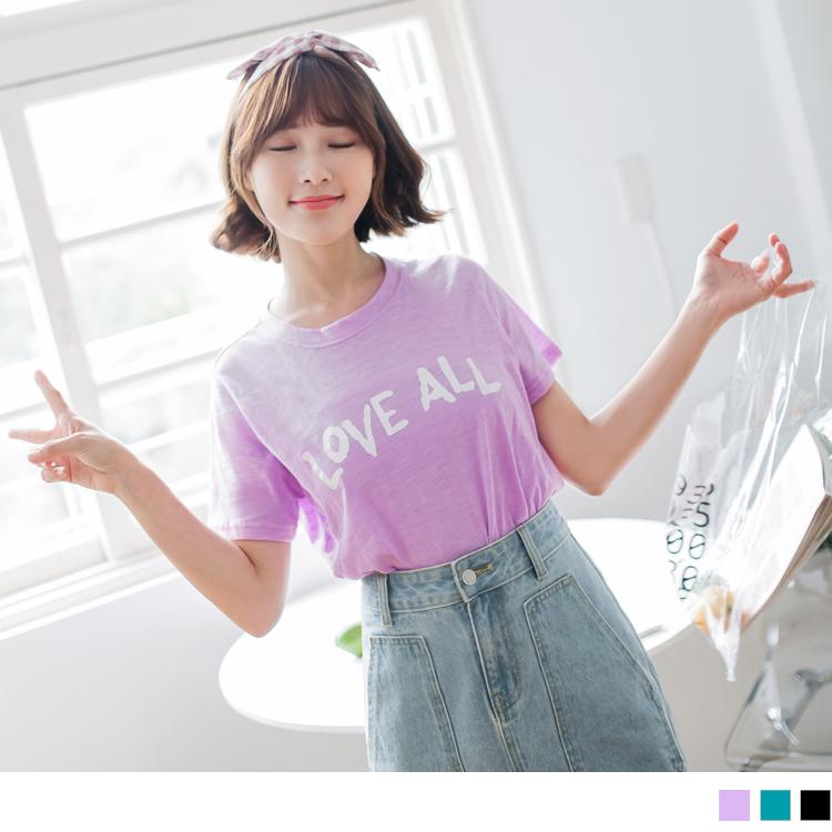 台湾制造.竹节棉英文字印花T恤上衣