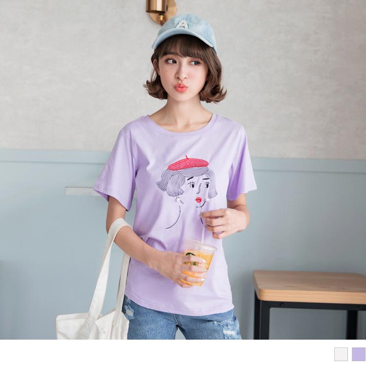 高含棉法國女孩珍珠耳環造型電繡T恤/上衣