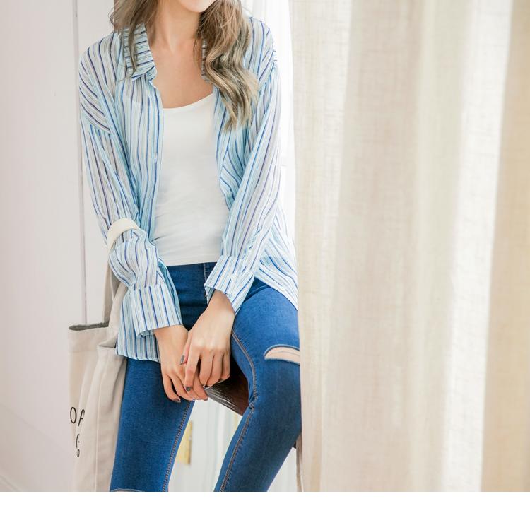 清新直條紋配色反褶袖長板寬鬆襯衫