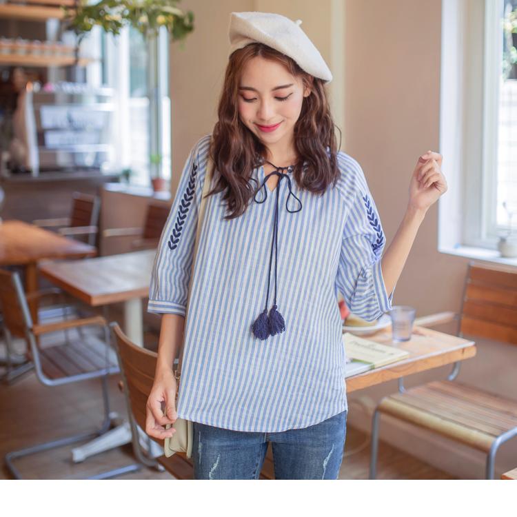 親子系列~流蘇綁帶高含棉直條紋刺繡上衣