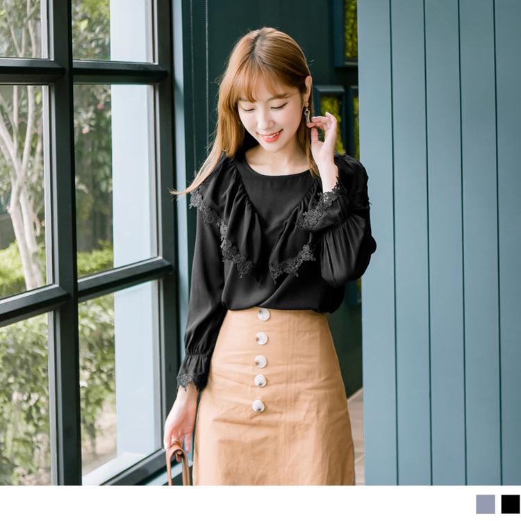 浪漫約會系列~造型荷葉領蕾絲拼接純色上衣