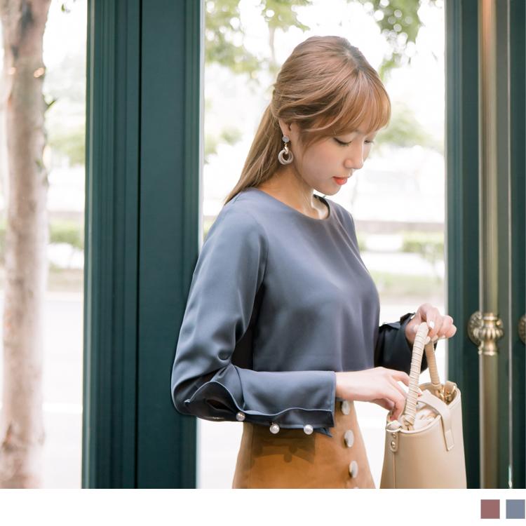 袖口造型拼接綴珍珠純色上衣