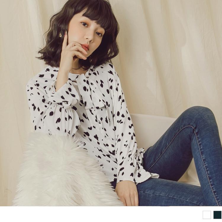 滿版印花領口綁帶喇叭袖雪紡襯衫
