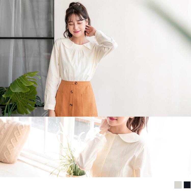兩穿式打褶造型領排釦高棉上衣
