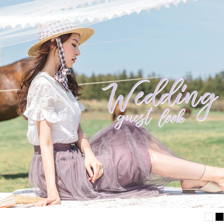 婚禮系列~高含棉純色蕾絲雕花V領排釦上衣