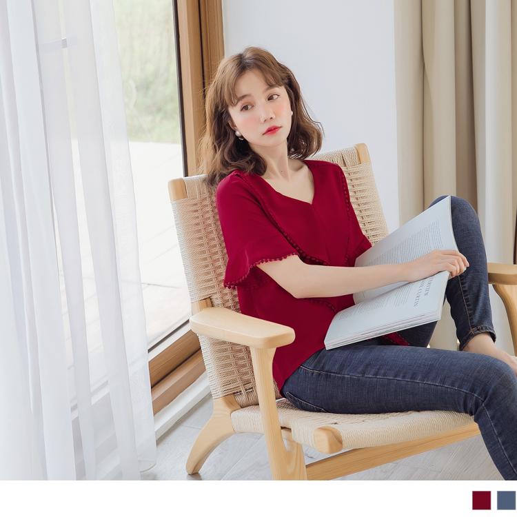 純色不易皺蕾絲領巾造型感雪紡上衣
