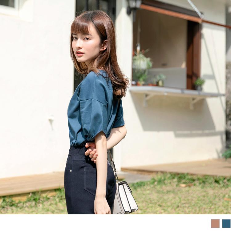 台灣製造. 高含棉袖口扭結純色圓領T恤/上衣