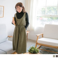 細格紋胸前排釦無袖縮腰綁帶連身寬褲.2色