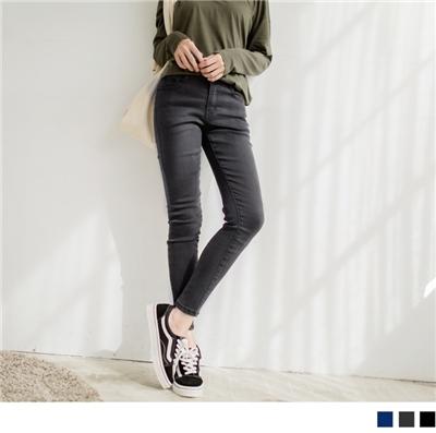 【買就抽機票】 素色窄管合身窄管牛仔褲
