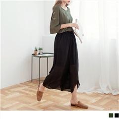 腰圍鬆緊弧裁褲腳透光感雪紡寬褲.2色