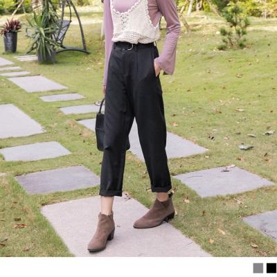 【週三新品】素色後鬆緊附腰帶西裝褲.2色