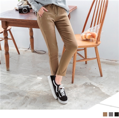 0929新品 褲頭鬆緊綁帶九分直筒褲