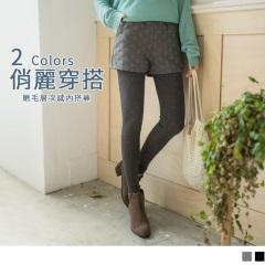 1020新品 圓點造型短褲拼接素色內搭褲