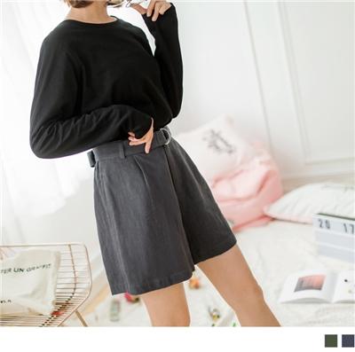 0928新品 附腰帶麻料打褶短褲