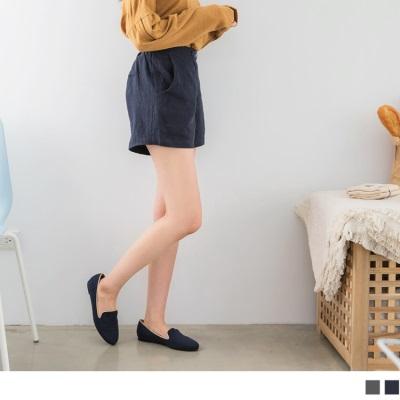 1003新品 素色麻面料俐落短褲