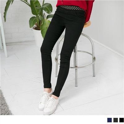 1013新品 點點造型腰邊窄管褲