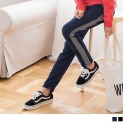 灰色拼接素色休閒運動褲