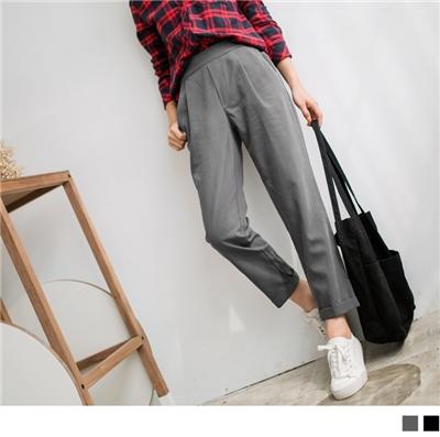 0928新品 褲頭打褶拼色腰圍鬆緊反折寬版褲