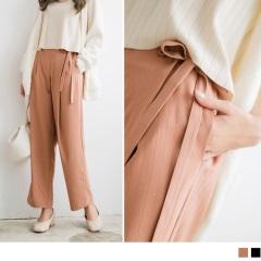 0922新品 素色打褶側邊蝴蝶結綁帶褲