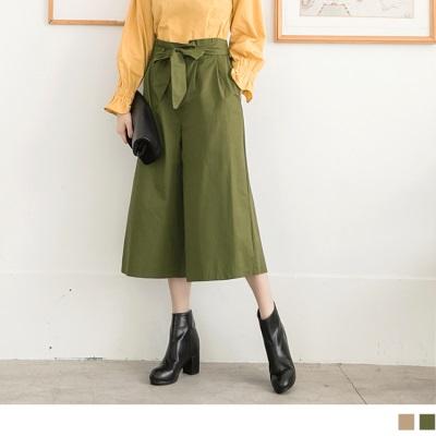 1025新品 高含棉蝴蝶結綁帶素色寬褲