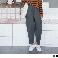 高含棉車線設計素面寬版褲