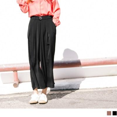 1025新品 後鬆緊腰帶造型打褶雪紡寬褲