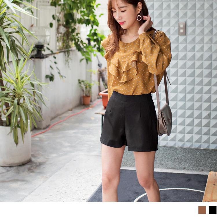 厚質雪紡純色西裝短褲