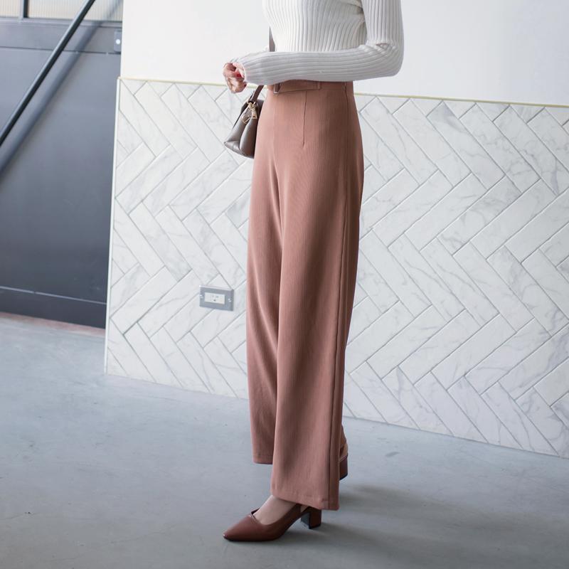 豎壓紋方形釦造型腰帶闊腿厚質寬褲