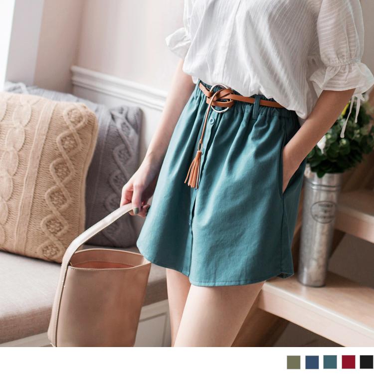 纯色排釦造型腰围松紧附大环皮带裤裙