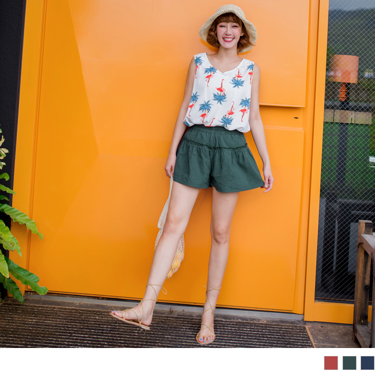 全鬆緊腰頭荷葉滾邊純色短褲裙