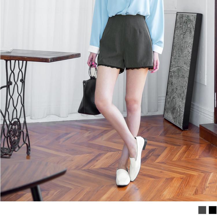 下襬蕾絲雕花拼接打褶西裝短褲