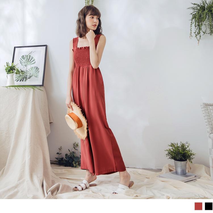 純色平領鬆緊造型連身吊帶寬褲-3色