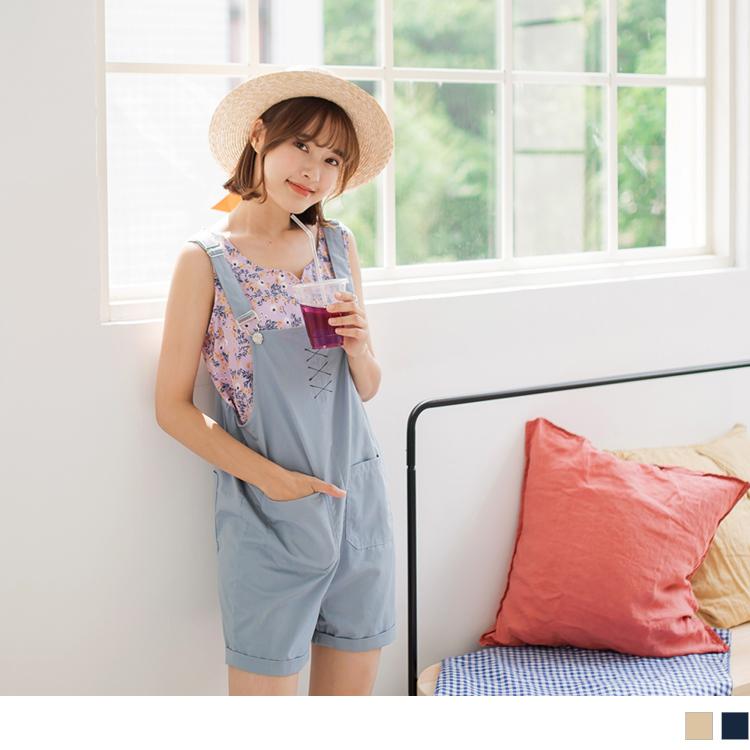 交叉刺绣口袋设计高含棉纯色吊带短裤