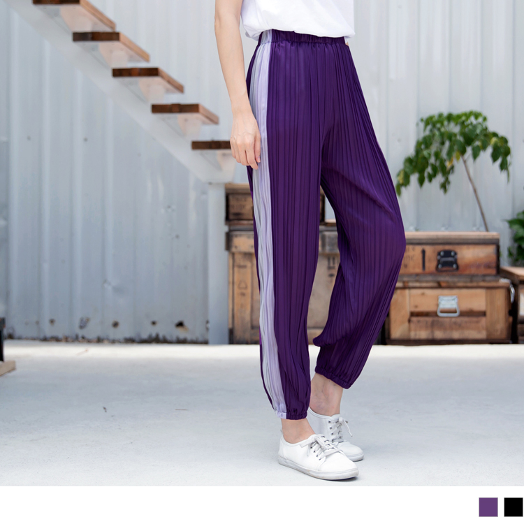 條紋縮口雪紡壓褶寬版褲