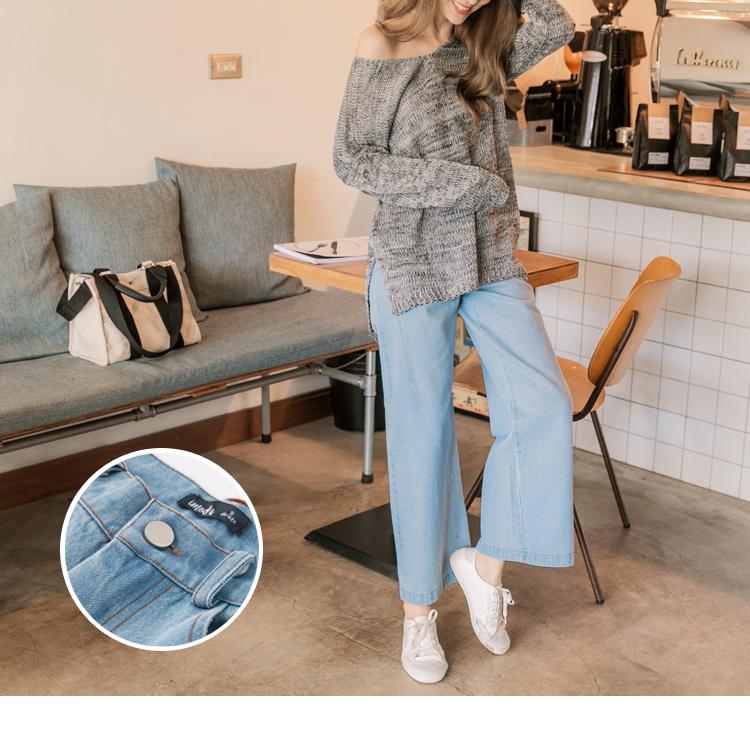 高含棉車線造型牛仔寬褲