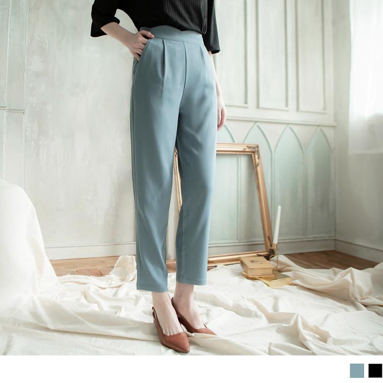 微光澤花瓣褲頭高腰打褶寬褲