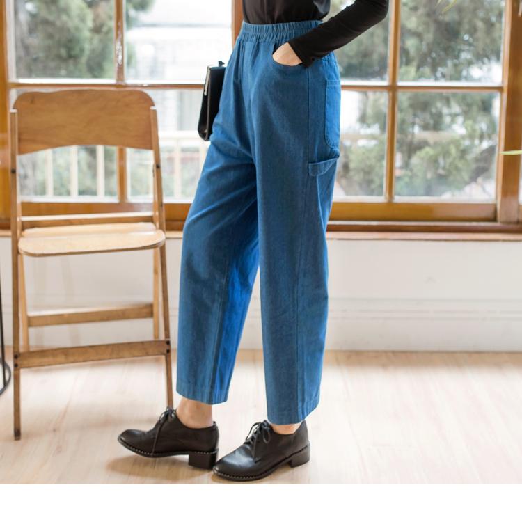 高含棉腰鬆緊丹寧牛仔寬褲
