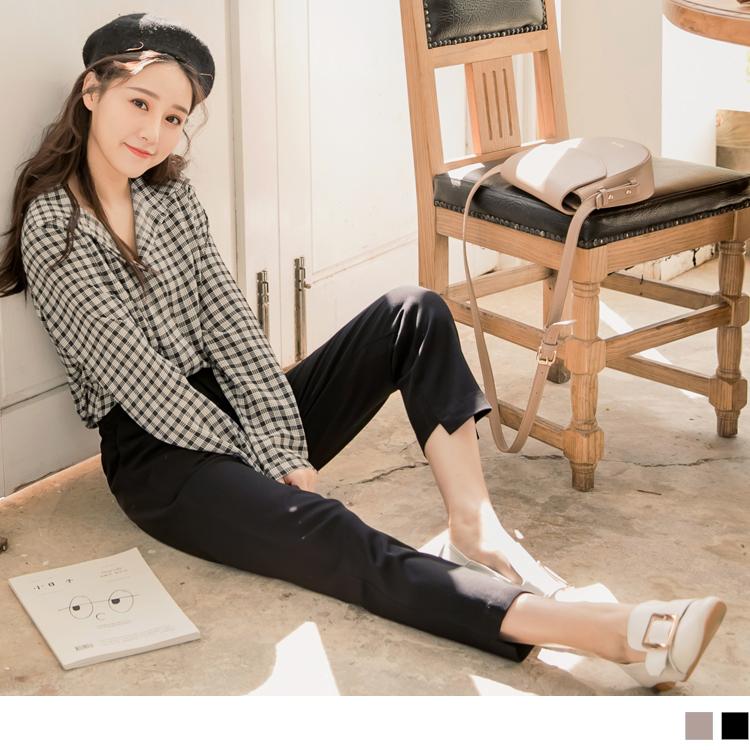 褲腳設計剪裁純色西裝褲