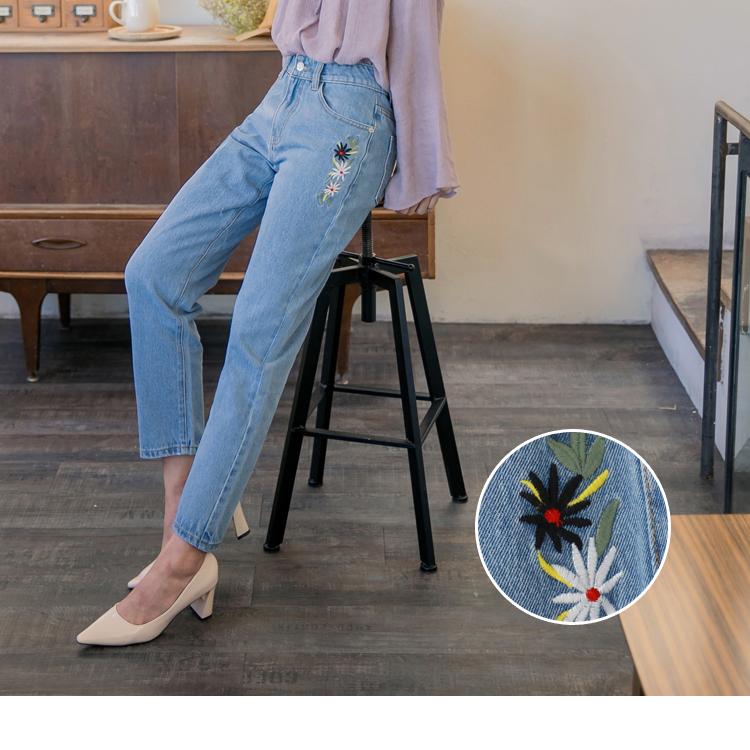 花朵刺繡高棉牛仔直筒褲