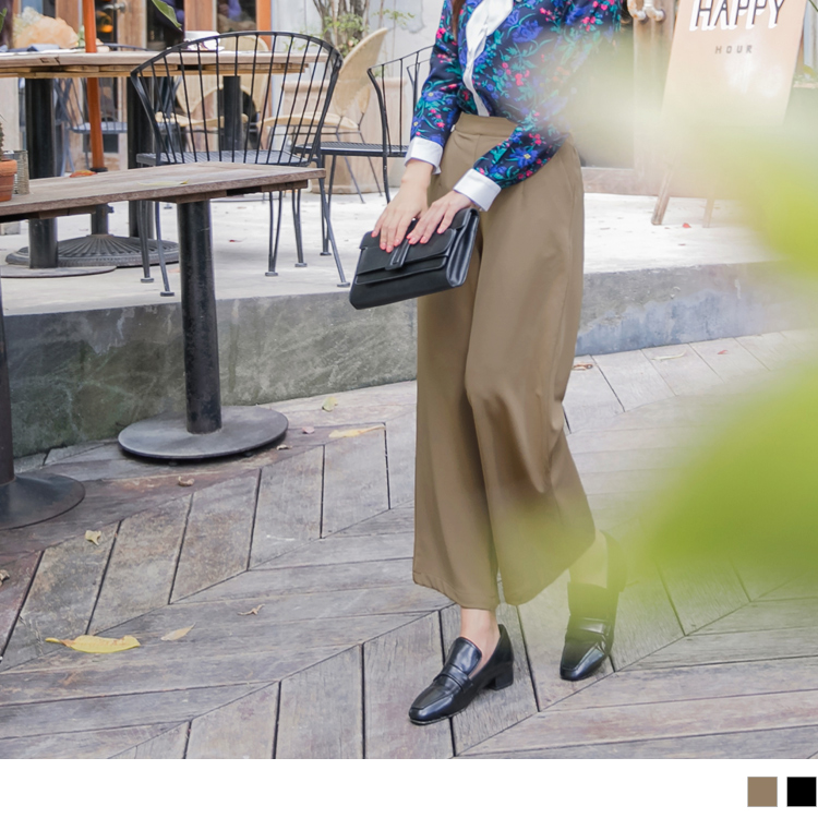 腰打褶設計純色西裝直筒褲