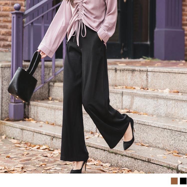 腰頭設計純色西裝直筒褲