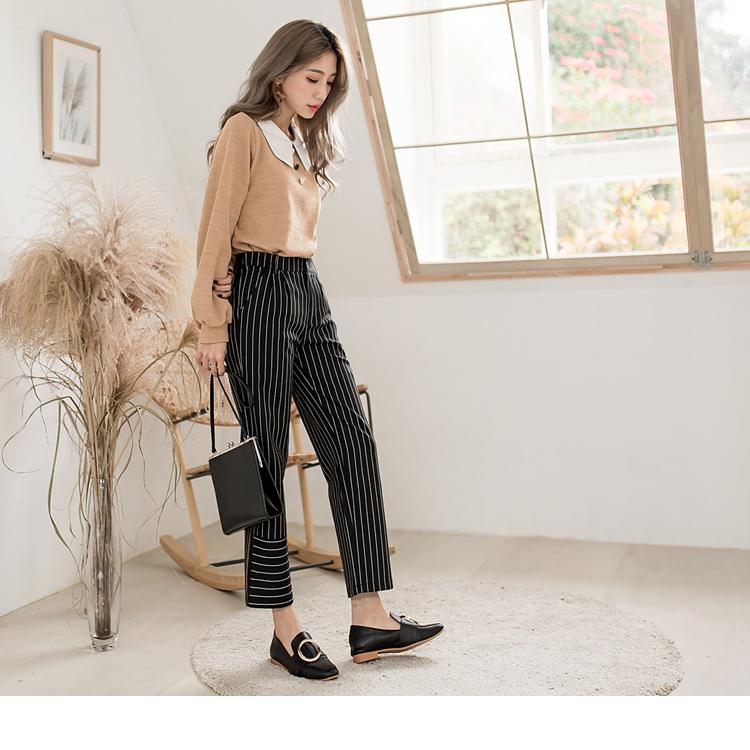 不規則設計條紋修身直筒褲