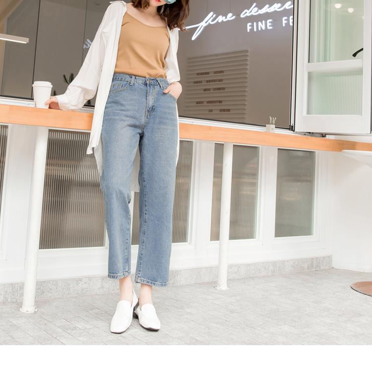 高含棉自然刷色九分小喇叭牛仔褲