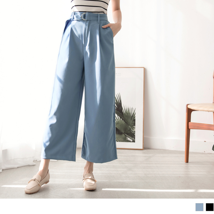 不易皺後腰鬆緊純色打褶寬褲(附腰帶)