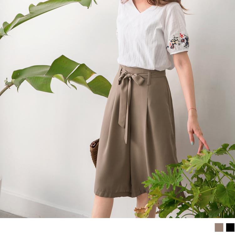 純色打褶腰綁帶雪紡五分褲褲裙