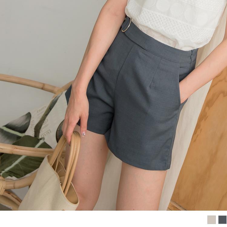 純色質感假腰帶造型A字西裝短褲