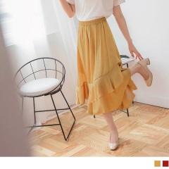0810新品 腰圍鬆緊飄逸荷葉層次素色光澤感緞面長裙.2色
