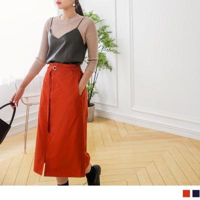 【買就抽機票】 後鬆緊前開衩高含棉素色中長裙.2色