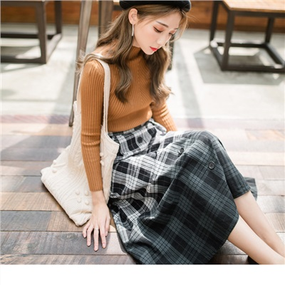 1012新品 高含棉撞色格子設計長裙